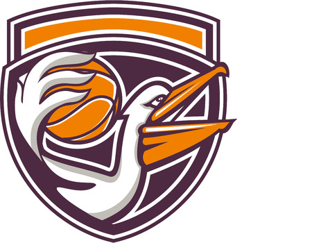 Illustration of a pelican holding passing basketball ball viewed from the side set inside shield crest on isolated background done in retro style.