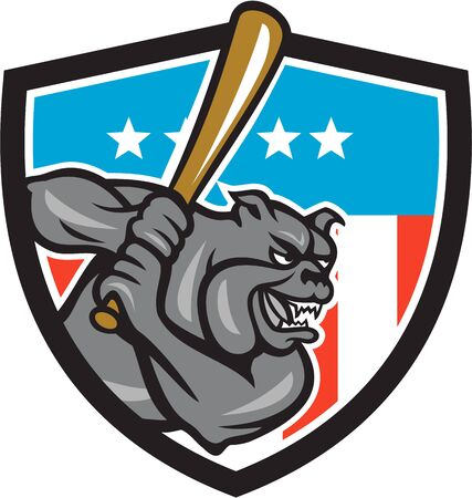 mongrel: Illustration of a bulldog baseball player batter hitter batting viewed from side set inside shield crest with usa stars and stripes flag in the background done in retro style.