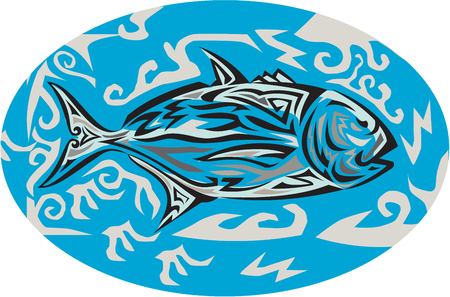 Tribal art style illustration of a giant trevally, Caranx ignobilis  also known as giant kingfish, lowly trevally, barrier trevally, or ulua a species of large marine fish in the jack family, Carangidae viewed from the side inside oval shape set on isolat Illustration