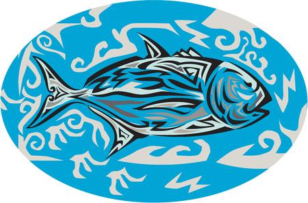 humilde: Tribal ejemplo del estilo del arte de un gigante de jurel, Caranx también ignobilis conoce como pez rey gigante, jurel humilde, jureles barrera, o ulua una especie de peces marinos de gran extensión en la familia de Jack, Carangidae ve desde el lado interior de forma oval situada en isolat