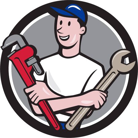 Illustration of a repairman handyman worker wearing hat holding spanner and monkey wrench looking to the side viewed from front set inside circle done in cartoon style.