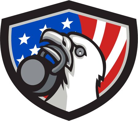 looking up: Illustration of an american bald eagle head looking up to the side lifting kettleball with beak set inside shield crest with american usa flag in the background. Illustration