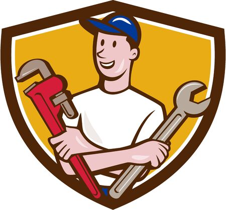 monkey wrench: Illustration of a repairman handyman worker wearing hat holding spanner and monkey wrench looking to the side viewed from front set inside shield crest done in cartoon style.