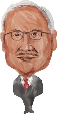 tun: Water color caricature illustration of Dato Sri Haji Mohammad Najib bin Tun Haji Abdul Razak (born 23 July 1953) the sixth Prime Minister of Malaysia facing front done in cartoon style.