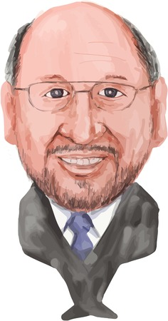 european parliament: Water color caricature illustration of Martin Schulz, German politician serving as the President of the European Parliament of viewed from front on isolated white background done in cartoon style.