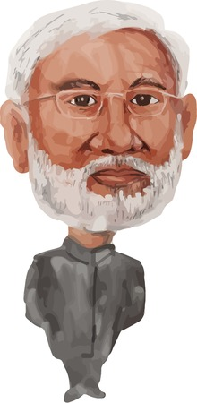 the statesman: Water color caricature illustration of Narendra Damodardas Modi ( born 17 September 1950) the 14th Prime Minister of India facing front done in cartoon style.