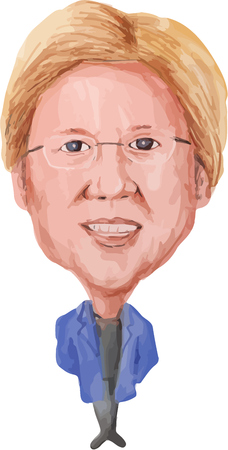 warren: Water color caricature illustration of Elizabeth Ann Warren (born June 22, 1949)American Senator of the Democratic Party viewed from front on isolated white background done in cartoon style.