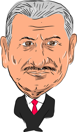 the prime minister: Caricature illustration of Binali Yildirim ,Turkish politician and 27th Prime Minister of Turkey facing front done in cartoon style. Editorial