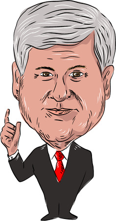 statesman: Water color caricature illustration of Newton Leroy Newt Gingrich, American political consultant and former Republican congressman of Georgia, USA viewed from front on isolated white background done in cartoon style. Editorial