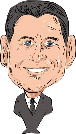 statesman: Caricature illustration of Paul Davis Ryan Speaker of the U.S. House of Representatives and Republican Party Senator viewed from front on isolated white background done in cartoon style. Editorial