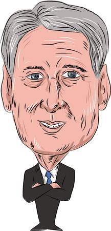 mp: Caricature illustration of Philip Anthony Hammond PC MP, British Conservative politician and Chancellor of the Exchequer facing front done in cartoon style on isolated background.