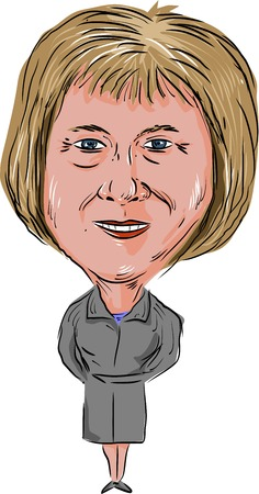 Caricature illustration of Theresa Mary May, Prime Minister of the United Kingdom and Leader of the Conservative Party facing front done in cartoon style. Editorial