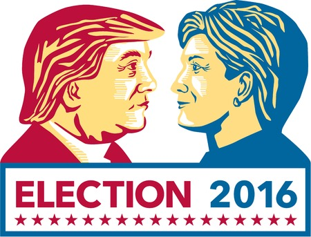 Illustration showing Republican Donald Trump versus Democrat Hillary Clinton face-off for American president with words Election 2016 on isolated white background done in stencil retro art style.