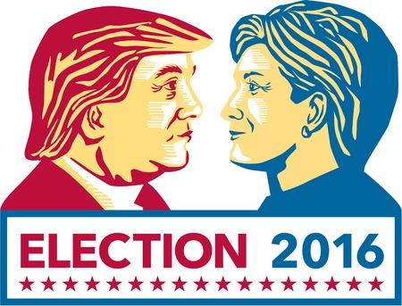 Illustratie die Republikeinse Donald Trump versus Democraat Hillary Clinton face-off voor de Amerikaanse president met woorden Verkiezing 2016 op witte achtergrond gedaan in stencil retro kunststijl.