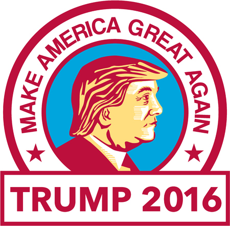 republican party: Illustration showing Republican Party presidential president 2016 candidate Donald John Trump set inside circle with words We will make America Great Again done in stencil retro art style.