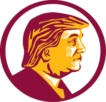 republican party: Illustration showing Republican Party presidential president 2016 candidate Donald John Trump on isolated white background done in stencil retro art style.