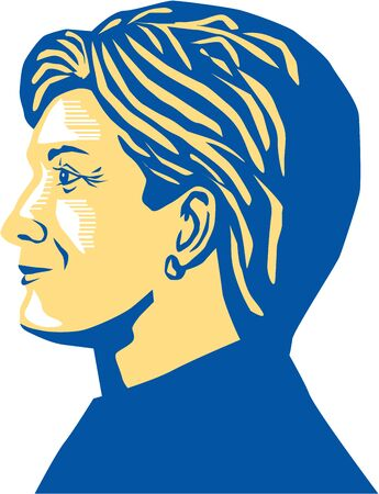 Illustration showing Democratic Party presidential candidate for president 2016 Hillary Clinton side view profile on isolated background.
