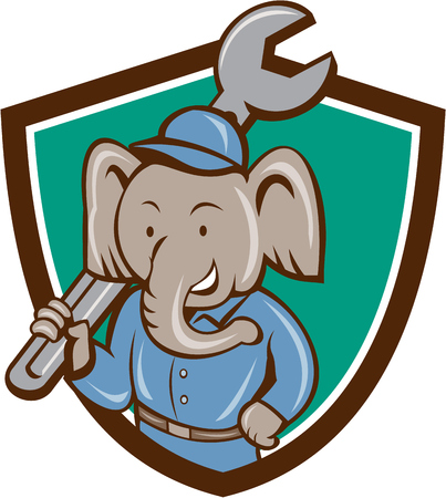 Illustration of an elephant mechanic holding spanner on shoulder viewed from front set inside shield crest on isolated background done in cartoon style.