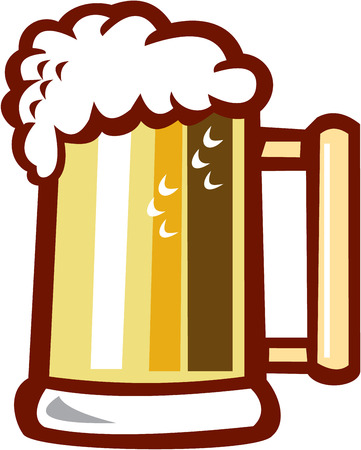 stoneware: Illustration of a beer stein mug with beer foam on top set on isolated white background done in retro style. Illustration