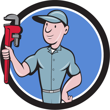 Illustration of a repairman handyman worker wearing hat carrying holding monkey wrench looking to the side viewed from front set inside circle done in cartoon style.