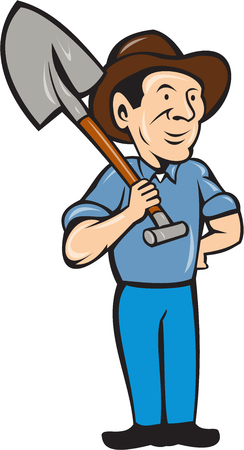 hand shovels: Illustration of an organic farmer standing with one hand on hips holding shovel on shoulder looking to the side viewed from front set on isolated white background done in cartoon style.