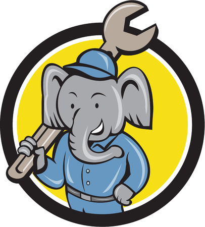 overall: Illustration of an elephant mechanic holding spanner on shoulder viewed from front set inside circle on isolated background done in cartoon style. Illustration