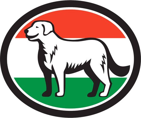 hungarian: Illustration of a Kuvasz, an ancient breed of a livestock dog of Hungarian origin standing viewed from the side with hungarian flag in the background done in retro style.