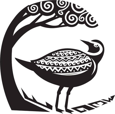 looking at view: Tribal Art style illustration of a Pacific golden plover, Pluvialis fluva or kolea, a medium-sized plover standing looking up to a tree viewed from the side set inside circle. Illustration
