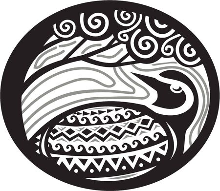 ethnographic: Tribal Art style illustration of a Pacific golden plover, Pluvialis fluva or kolea, a medium-sized plover looking up to a tree viewed from the side set inside oval shape. Illustration