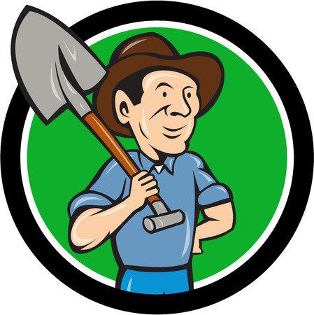 looking at view: Illustration of an organic farmer holding shovel on shoulder looking to the side viewed from front set inside circle done in cartoon style.