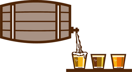 keg: Illustration of beer keg pouring on glass of beer flight beer each holding a different beer type on isolated background done in retro style.