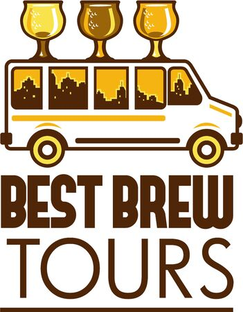Illustration of  beer flight glass each holding a different beer type on top of van with cityscape buildings in the background viewed from the side with the words Best Brew Tours below set on isolated white background done in retro style.