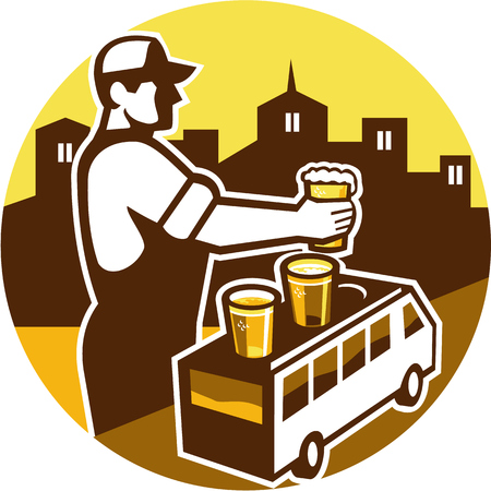barkeeper: Illustration of bartender holding beer with beer flight on top of van and cityscape buildings in the background viewed from the side set inside circle done in retro style.