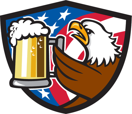 american bald eagle: Illustration of an american bald eagle hoisting mug glass of beer stein viewed from the side with usa american stars and stripes flag in the background set inside shield crest done in retro style.