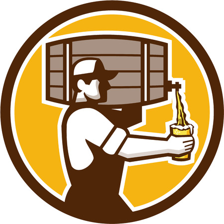 bartender: Illustration of bartender carrying keg on shoulder pouring beer from keg viewed from the side set inside circle done in retro style.
