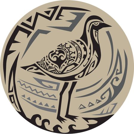 Tribal Art style illustration of a Pacific golden plover, Pluvialis fluva or kolea, a medium-sized plover standing viewed from the side set inside circle.