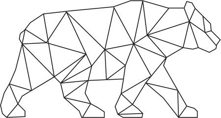 낮은 다각형 스타일 미국의 검은 곰, Ursus americanus, 흑인과 백인 격리 된 흰색 배경에 설정 측면에서 볼 걷고 북미 출신 네이티브 크기 곰 그림. 일러스트