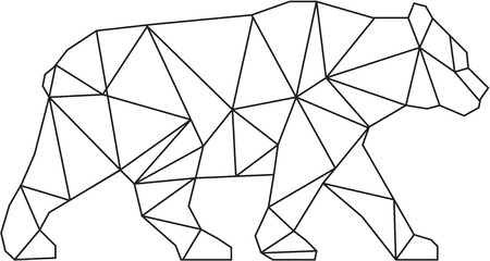 Low polygon style Illustration of an American black bear,Ursus americanus, a medium-sized bear native to North America walking viewed from side set on isolated white background done in black and white.