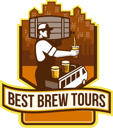 bartender: Illustration of bartender carrying keg on shoulder pouring beer from keg viewed from the side with van bus and cityscape buildings in the background and the words Best Brew Tours set inside shield crest done in retro style. Illustration