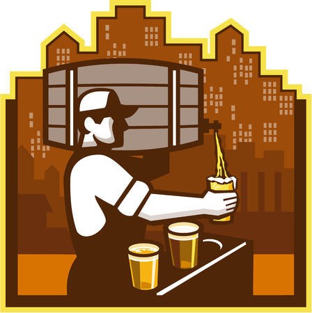 barkeeper: Illustration of bartender carrying keg on shoulder pouring beer from keg viewed from the side with beer glass and beer flight and cityscape buildings in the background done in retro style.