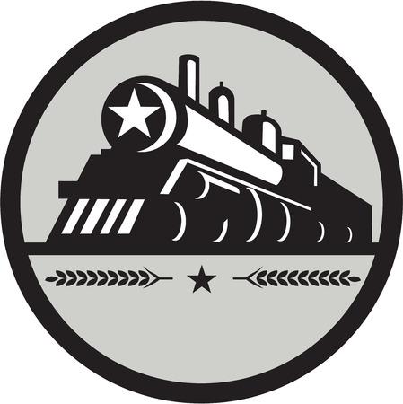 Illustration d'un train à vapeur locomotive vue de l'avant ensemble, intérieur, cercle avec étoile et feuilles faites dans le style rétro. Banque d'images - 60768927