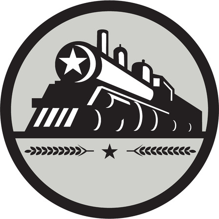 steam train: Illustration of a steam train locomotive viewed from front set inside circle with star and leaves done in retro style.