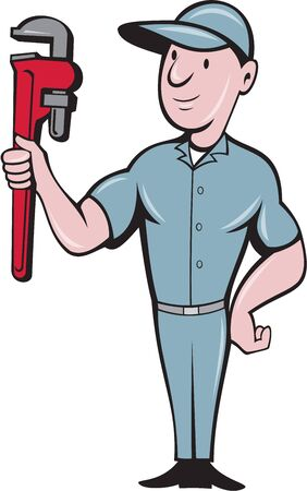 guy standing: Illustration of a repairman handyman worker wearing hat standing with one hand on hips carrying holding monkey wrench looking to the side viewed from front set on isolated white background done in cartoon style.