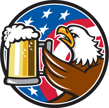 beer stein: Illustration of an american bald eagle hoisting mug glass of beer stein viewed from the side with usa american stars and stripes flag in the background set inside circle done in retro style.
