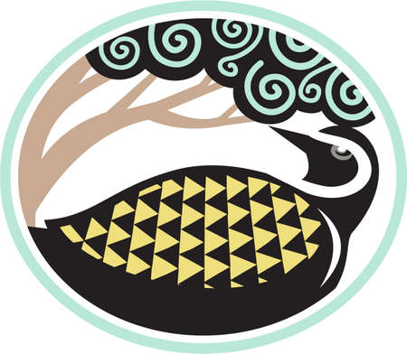 pluvialis: Tribal Art style illustration of a Pacific golden plover, Pluvialis fluva or kolea, a medium-sized plover looking up to a tree viewed from the side set inside oval shape. Illustration