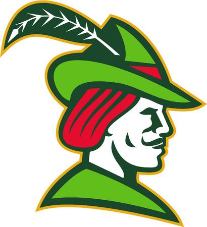Illustratie van een Robin Hood dragen middeleeuwse hoed met een puntig rand en veren van opzij gezien set op witte achtergrond gedaan in retro stijl. Vector Illustratie