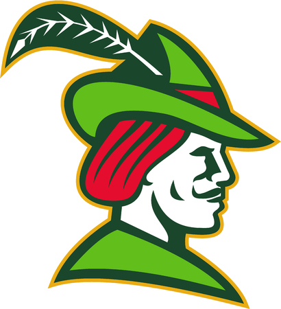 Illustration d'un Robin Hood porter le chapeau médiéval avec un bord pointu et plumes vu du jeu latéral sur fond blanc isolé fait dans le rétro style. Banque d'images - 60769098