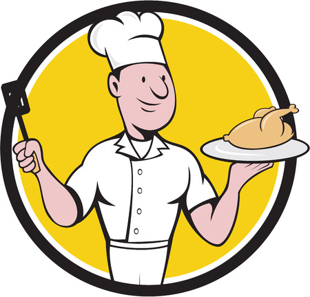 roast chicken: Illustration of a chef cook serving roast chicken on a platter on one hand and holding a spatula on the other hand viewed from front set inside circle  on isolated background done in cartoon style.
