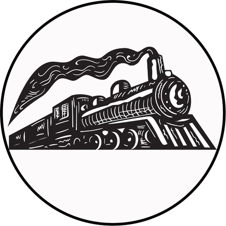 printmaking: Illustration of a steam train locomotive coming up viewed from low angle set inside circle on isolated background done in retro woodcut style.