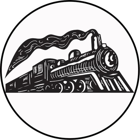Ilustración de una locomotora de tren de vapor que sube visto desde un ángulo bajo fijó el círculo interior en el fondo aislado hecho en estilo retro grabado en madera. Ilustración de vector